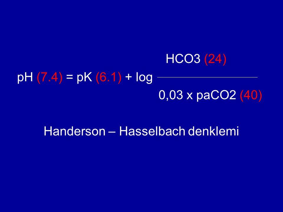 HCO3 (24) pH (7.4) = pK (6.1) + log 0,03 x paCO2 (40) Handerson – Hasselbach denklemi