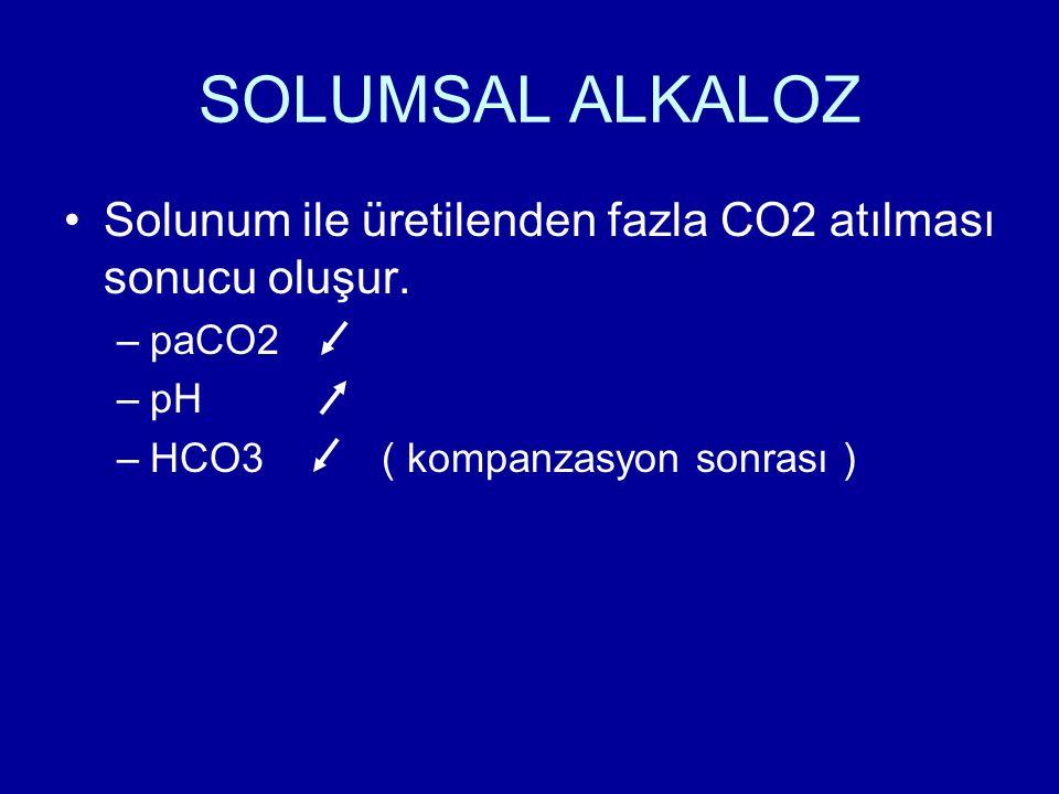 SOLUMSAL ALKALOZ Solunum ile üretilenden fazla CO2 atılması sonucu oluşur. –paCO2 –pH –HCO3 ( kompanzasyon sonrası )