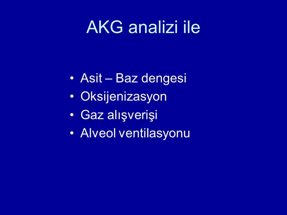 AKG analizi ile Asit – Baz dengesi Oksijenizasyon Gaz alışverişi Alveol ventilasyonu