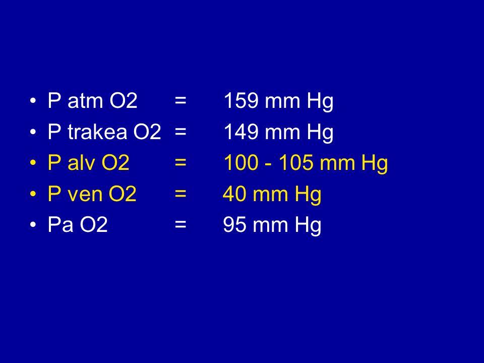 P atm O2=159 mm Hg P trakea O2= 149 mm Hg P alv O2 = 100 - 105 mm Hg P ven O2 = 40 mm Hg Pa O2 = 95 mm Hg