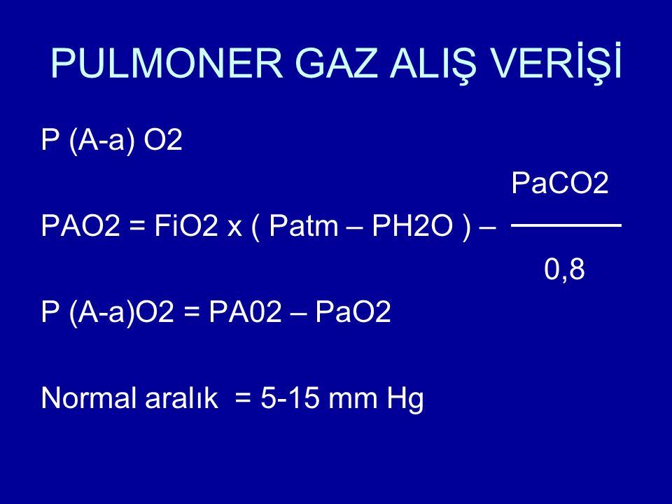 PULMONER GAZ ALIŞ VERİŞİ P (A-a) O2 PaCO2 PAO2 = FiO2 x ( Patm – PH2O ) – 0,8 P (A-a)O2 = PA02 – PaO2 Normal aralık = 5-15 mm Hg