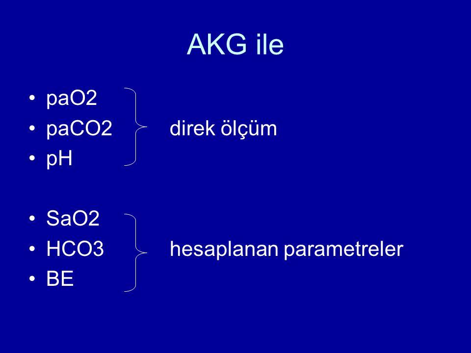 AKG ile paO2 paCO2direk ölçüm pH SaO2 HCO3hesaplanan parametreler BE