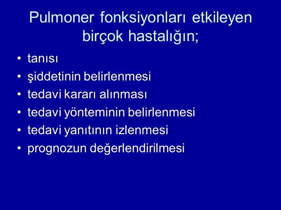 Pulmoner fonksiyonları etkileyen birçok hastalığın; tanısı şiddetinin belirlenmesi tedavi kararı alınması tedavi yönteminin belirlenmesi tedavi yanıtının izlenmesi prognozun değerlendirilmesi