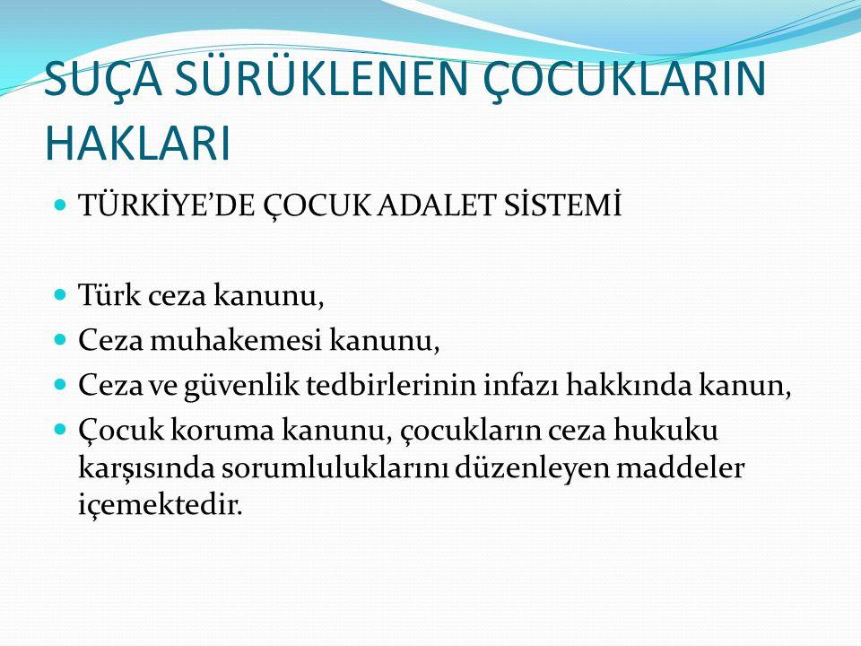 SUÇA SÜRÜKLENEN ÇOCUKLARIN HAKLARI TÜRKİYE'DE ÇOCUK ADALET SİSTEMİ Türk ceza kanunu, Ceza muhakemesi kanunu, Ceza ve güvenlik tedbirlerinin infazı hak