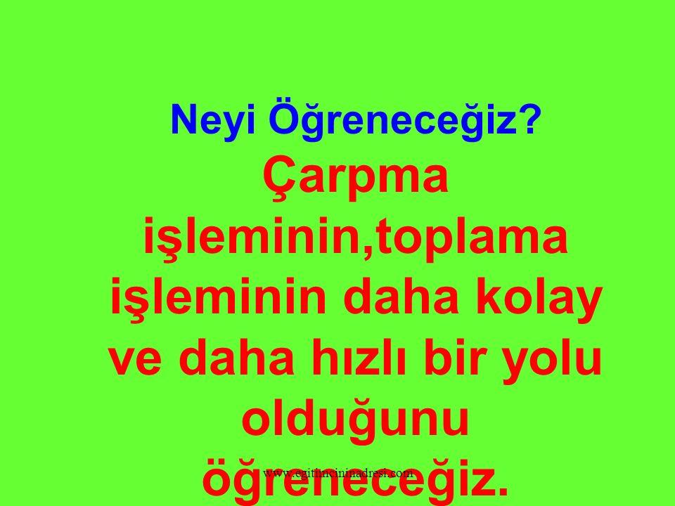 DİKKAT EDİN!!!! 2 x 5 = 10 2 + 2 + 2 + 2 + 2 = 10 5 x 2 = 10 5 + 5 = 10 www.egitimcininadresi.com