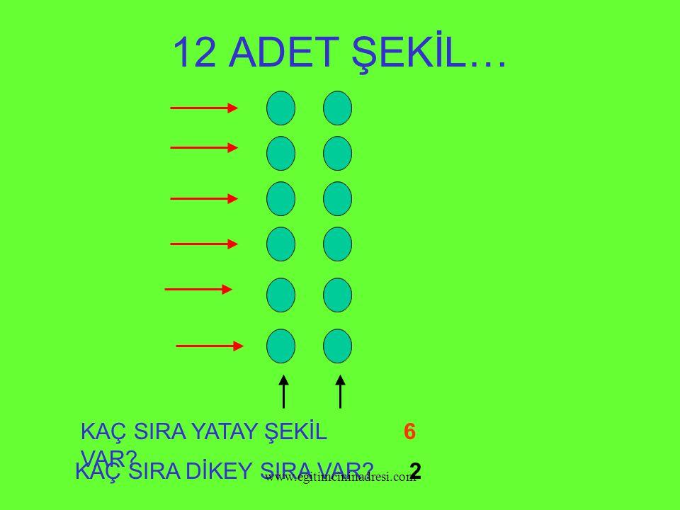 12 ADET ŞEKİL… KAÇ SIRA YATAY ŞEKİL VAR? KAÇ SIRA DİKEY SIRA VAR? 6 2 www.egitimcininadresi.com
