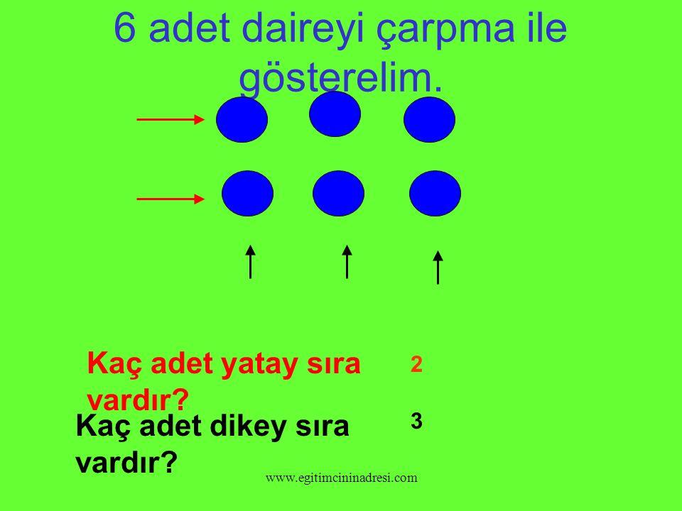 2 SIRA DİKEY, 6 SIRA YATAY ŞEKİL 2 x 6 = 12 ÇARPMA İŞLEMİ İLE NASIL GÖSTERİLİR.