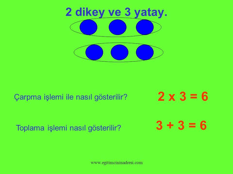 2 dikey ve 3 yatay.2 x 3 = 6 Çarpma işlemi ile nasıl gösterilir.