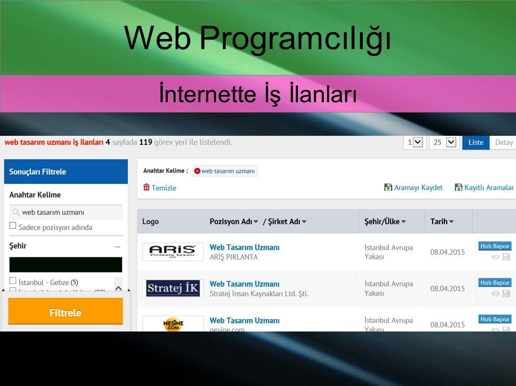 Web Programcılığı İnternette İş İlanları