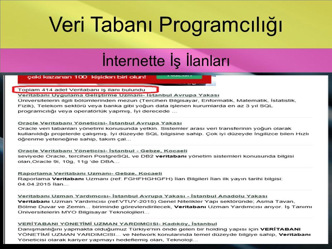 Veri Tabanı Programcılığı İnternette İş İlanları