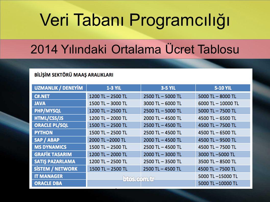 Veri Tabanı Programcılığı 2014 Yılındaki Ortalama Ücret Tablosu
