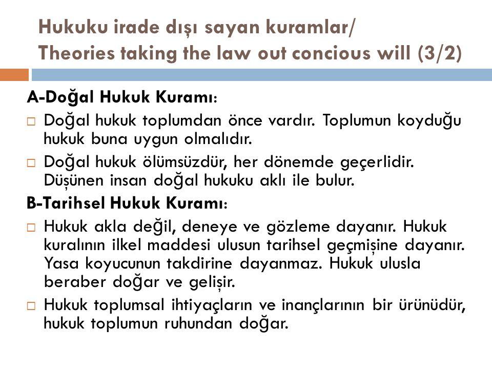 Hukuku irade dışı sayan kuramlar/ Theories taking the law out concious will (3/2) A-Do ğ al Hukuk Kuramı:  Do ğ al hukuk toplumdan önce vardır. Toplu