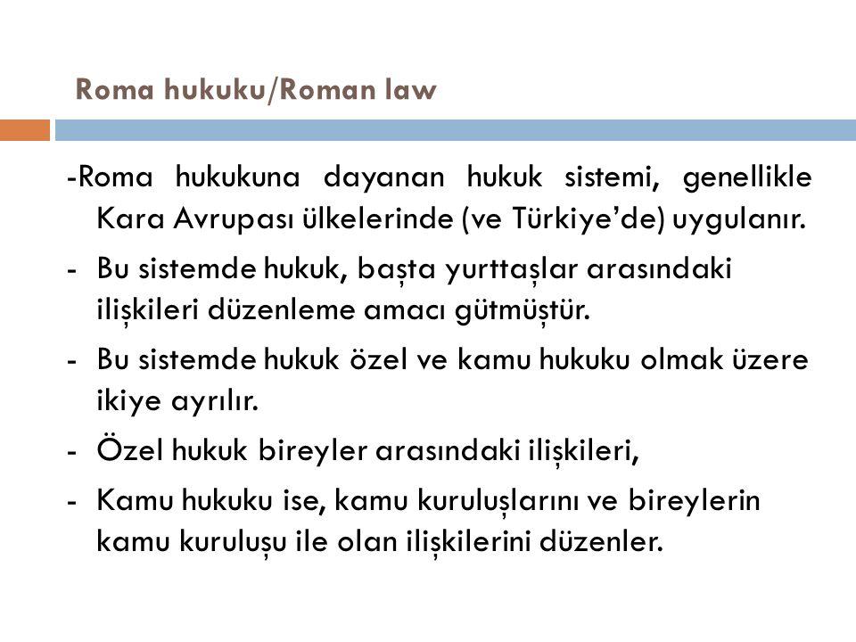 Roma hukuku/Roman law -Roma hukukuna dayanan hukuk sistemi, genellikle Kara Avrupası ülkelerinde (ve Türkiye'de) uygulanır.