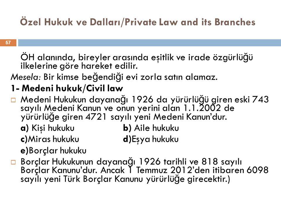 Özel Hukuk ve Dalları/Private Law and its Branches ÖH alanında, bireyler arasında eşitlik ve irade özgürlü ğ ü ilkelerine göre hareket edilir. Mesela: