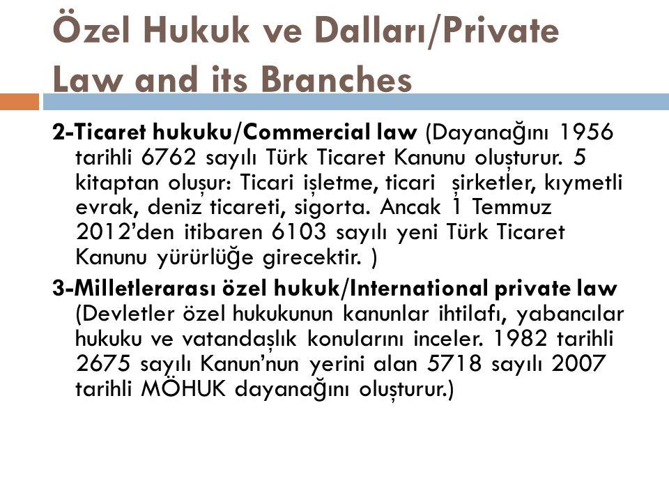 Özel Hukuk ve Dalları/Private Law and its Branches 2-Ticaret hukuku/Commercial law (Dayana ğ ını 1956 tarihli 6762 sayılı Türk Ticaret Kanunu oluşturur.