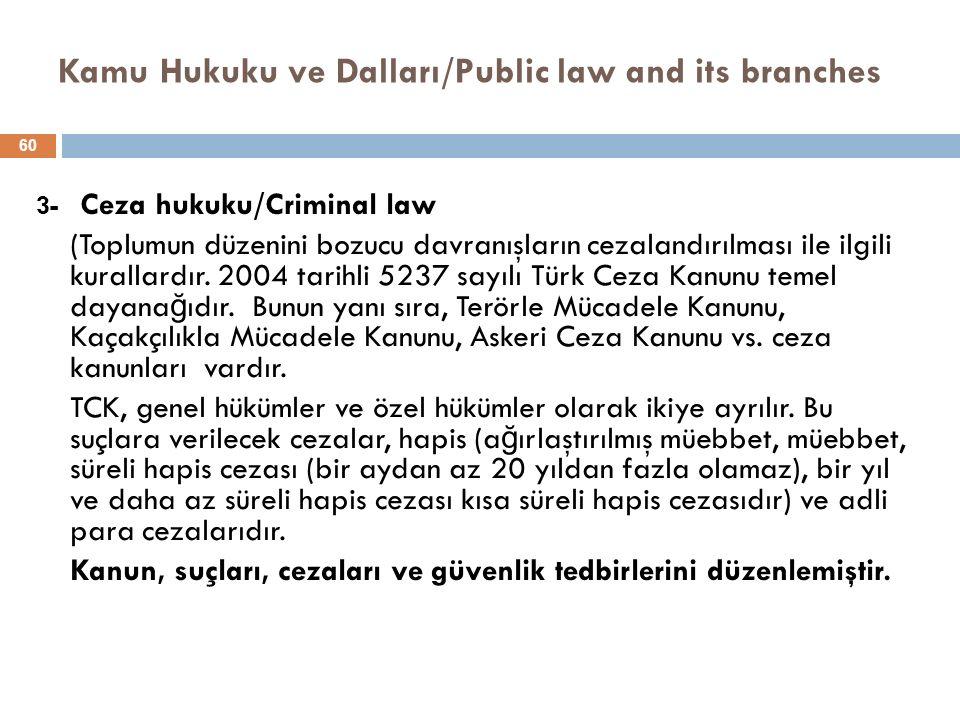 Kamu Hukuku ve Dalları/Public law and its branches 3- Ceza hukuku/Criminal law (Toplumun düzenini bozucu davranışların cezalandırılması ile ilgili kurallardır.