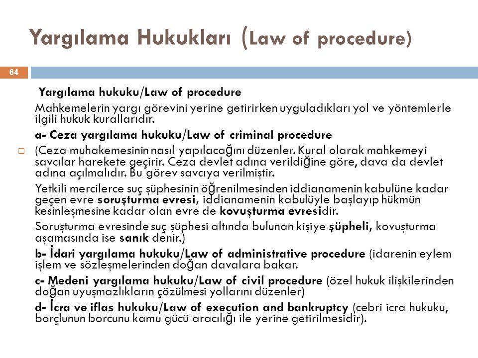 Yargılama Hukukları ( Law of procedure) Yargılama hukuku/Law of procedure Mahkemelerin yargı görevini yerine getirirken uyguladıkları yol ve yöntemlerle ilgili hukuk kurallarıdır.