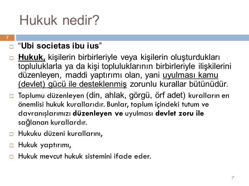 """Hukuk nedir?  """"Ubi societas ibu ius""""  Hukuk, kişilerin birbirleriyle veya kişilerin oluşturdukları topluluklarla ya da kişi topluluklarının birbirle"""