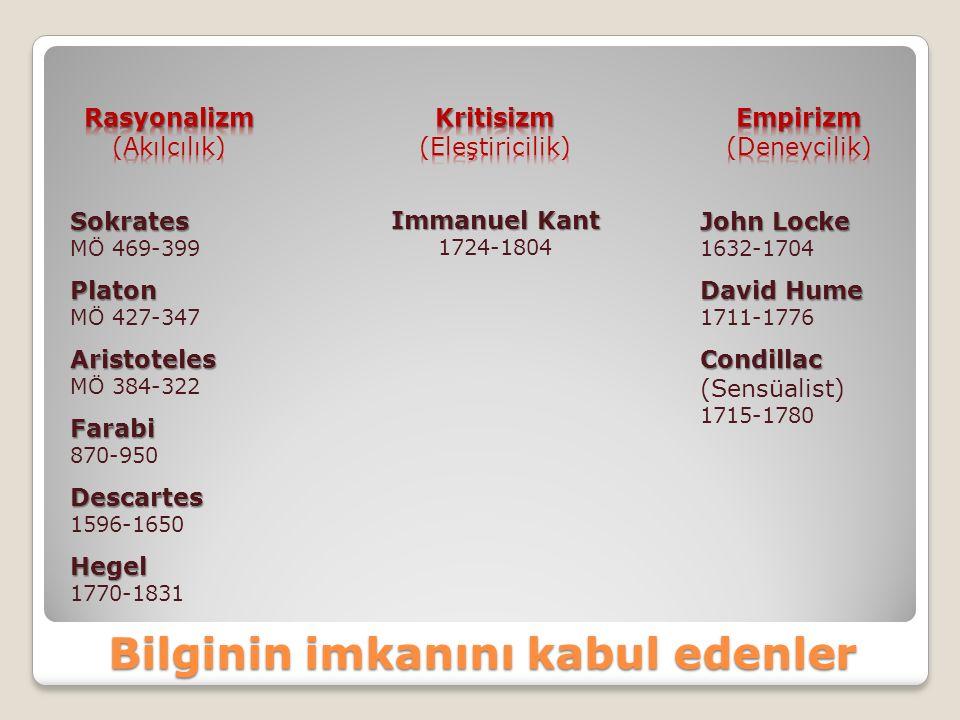 Bilginin imkanını kabul edenler Sokrates MÖ 469-399 Platon MÖ 427-347 Aristoteles MÖ 384-322 Farabi 870-950 Descartes 1596-1650 Hegel 1770-1831 Immanu