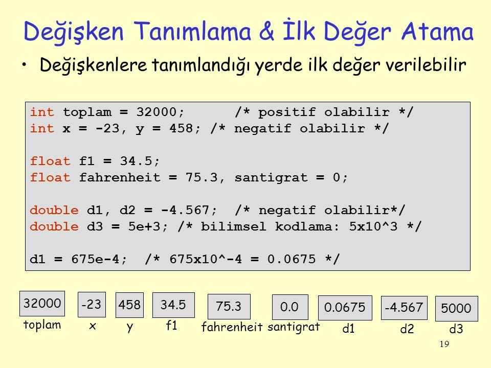 19 Değişken Tanımlama & İlk Değer Atama int toplam = 32000; /* positif olabilir */ int x = -23, y = 458; /* negatif olabilir */ float f1 = 34.5; float