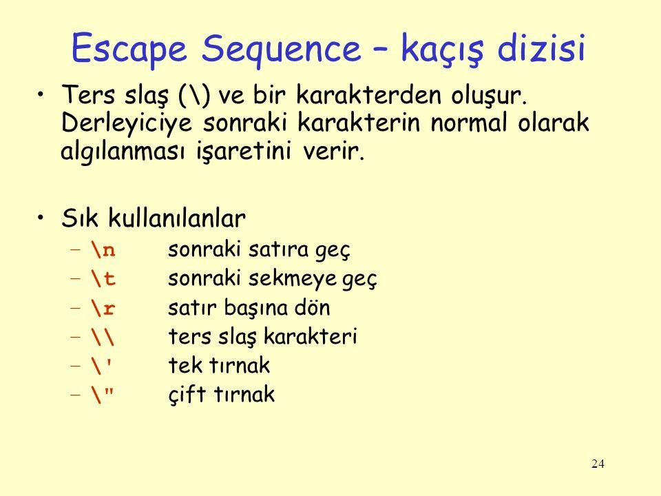 24 Escape Sequence – kaçış dizisi Ters slaş (\) ve bir karakterden oluşur. Derleyiciye sonraki karakterin normal olarak algılanması işaretini verir. S