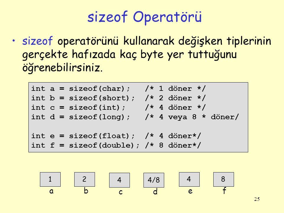 25 sizeof Operatörü int a = sizeof(char); /* 1 döner */ int b = sizeof(short); /* 2 döner */ int c = sizeof(int); /* 4 döner */ int d = sizeof(long);