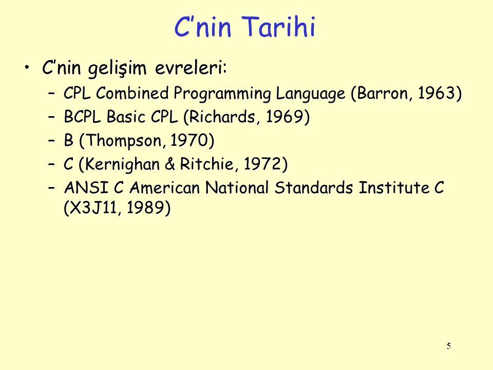 5 C'nin Tarihi C'nin gelişim evreleri:C'nin gelişim evreleri: –CPL Combined Programming Language (Barron, 1963) –BCPL Basic CPL (Richards, 1969) –B (T
