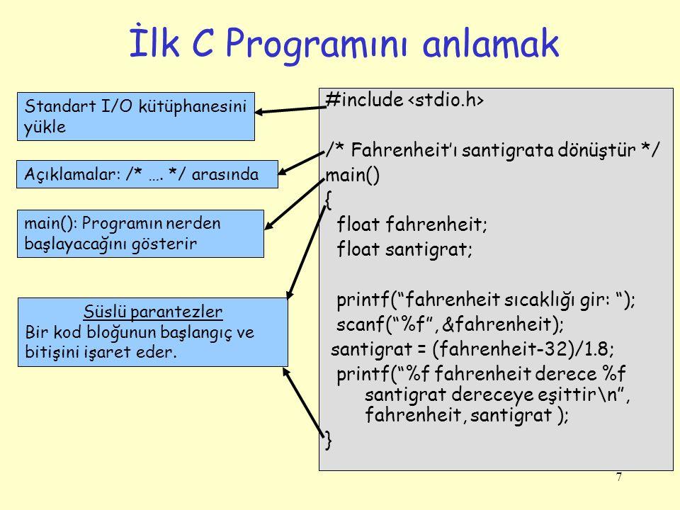 7 İlk C Programını anlamak Standart I/O kütüphanesini yükle Açıklamalar: /* …. */ arasında main(): Programın nerden başlayacağını gösterir Süslü paran