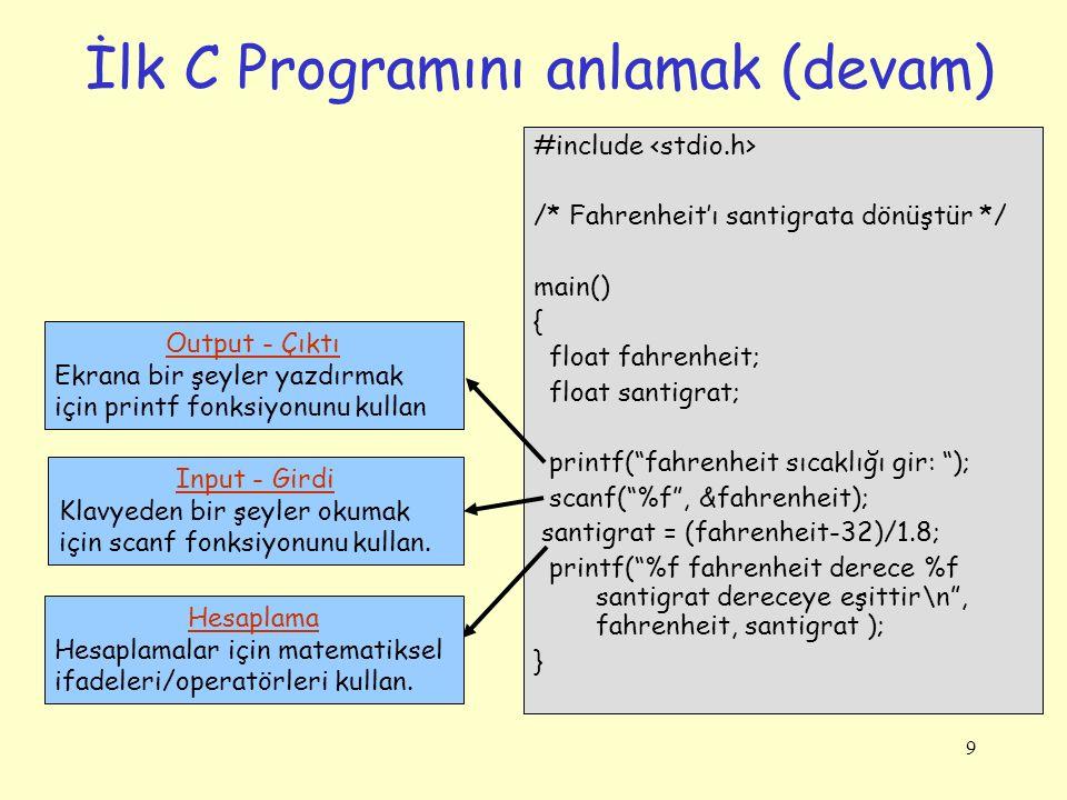 """9 İlk C Programını anlamak (devam) #include /* Fahrenheit'ı santigrata dönüştür */ main() { float fahrenheit; float santigrat; printf(""""fahrenheit sıca"""
