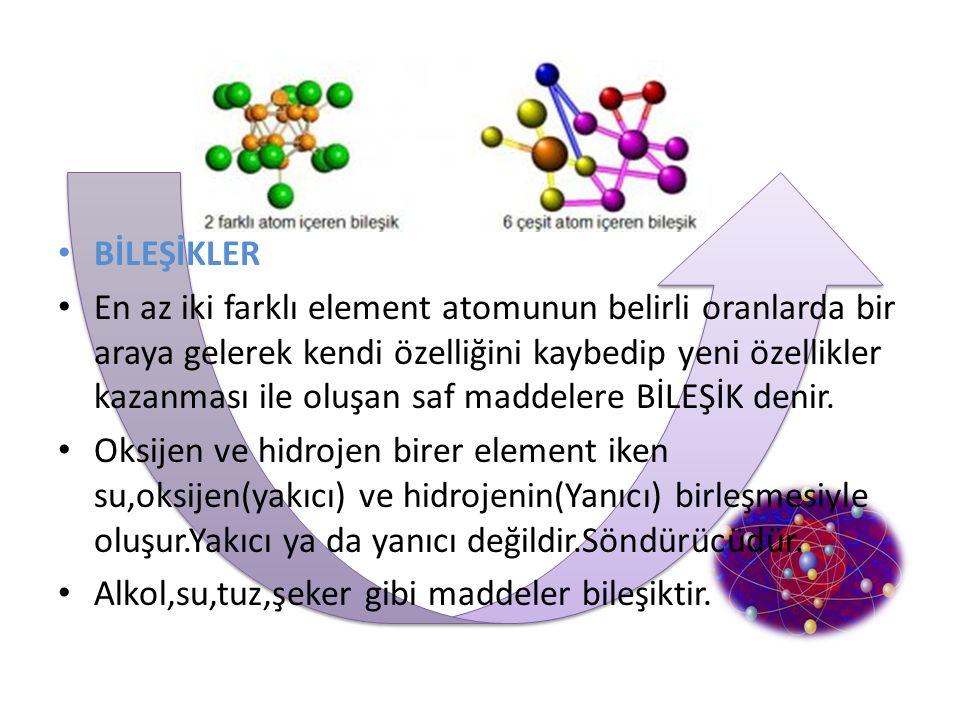 BİLEŞİKLER En az iki farklı element atomunun belirli oranlarda bir araya gelerek kendi özelliğini kaybedip yeni özellikler kazanması ile oluşan saf ma