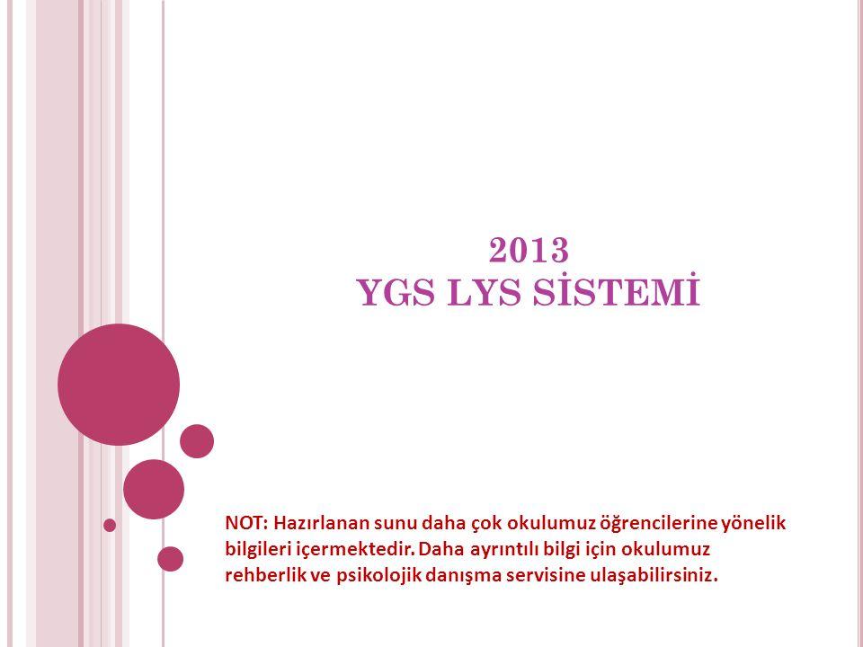 2013 YGS LYS SİSTEMİ NOT: Hazırlanan sunu daha çok okulumuz öğrencilerine yönelik bilgileri içermektedir.