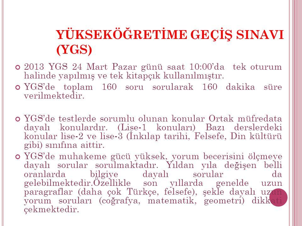 YÜKSEKÖĞRETİME GEÇİŞ SINAVI (YGS) 2013 YGS 24 Mart Pazar günü saat 10:00'da tek oturum halinde yapılmış ve tek kitapçık kullanılmıştır.