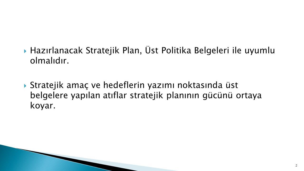  Hazırlanacak Stratejik Plan, Üst Politika Belgeleri ile uyumlu olmalıdır.  Stratejik amaç ve hedeflerin yazımı noktasında üst belgelere yapılan atı