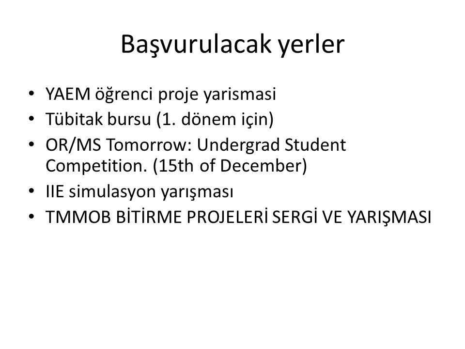 Başvurulacak yerler YAEM öğrenci proje yarismasi Tübitak bursu (1. dönem için) OR/MS Tomorrow: Undergrad Student Competition. (15th of December) IIE s