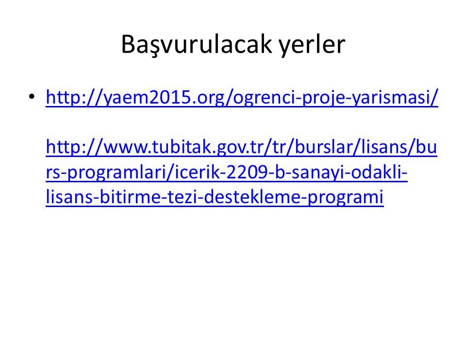 Başvurulacak yerler http://yaem2015.org/ogrenci-proje-yarismasi/ http://www.tubitak.gov.tr/tr/burslar/lisans/bu rs-programlari/icerik-2209-b-sanayi-od