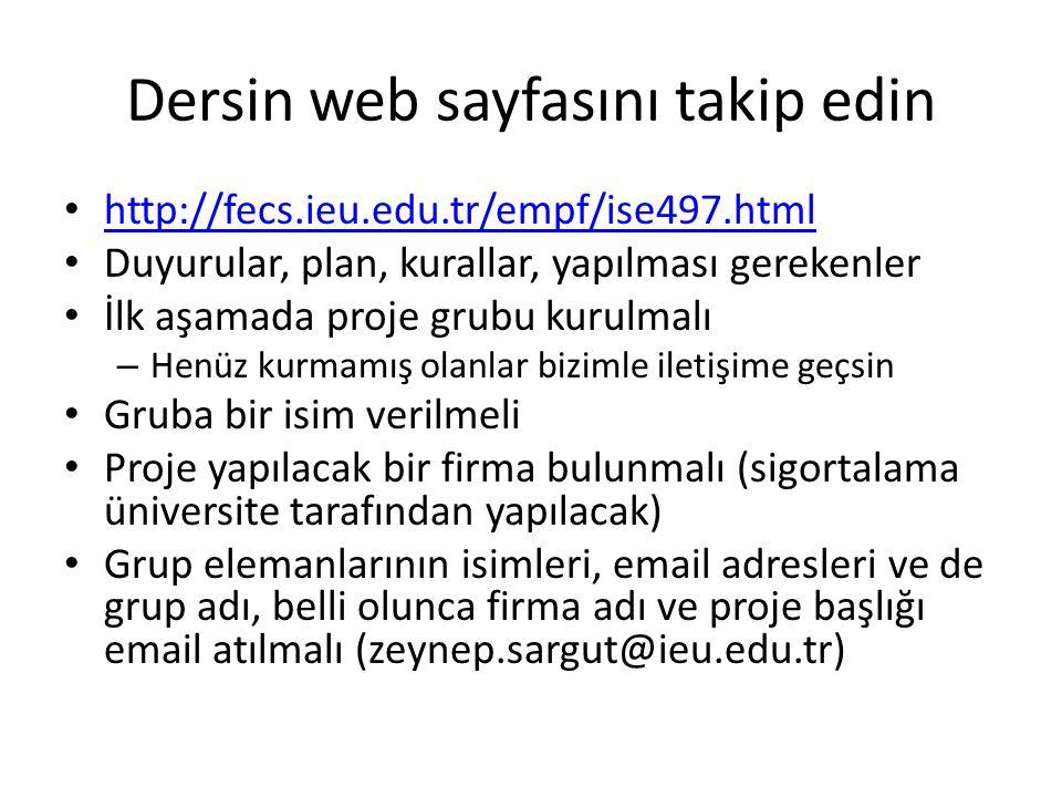 Dersin web sayfasını takip edin http://fecs.ieu.edu.tr/empf/ise497.html Duyurular, plan, kurallar, yapılması gerekenler İlk aşamada proje grubu kurulm