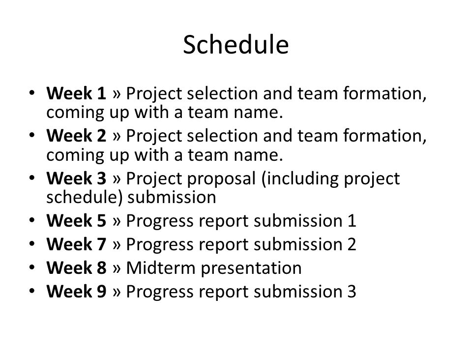 Meetings with the advisor Each team should meet with their advisor(s) regularly and submit progress reports (approximately every 2 weeks) These reports should contain the names of the group members, title of the project, the work carried out in the previous weeks and the work that the team is planning to do in the following week(s) At the beginning of each term, the teams are expected to prepare a schedule of their project studies