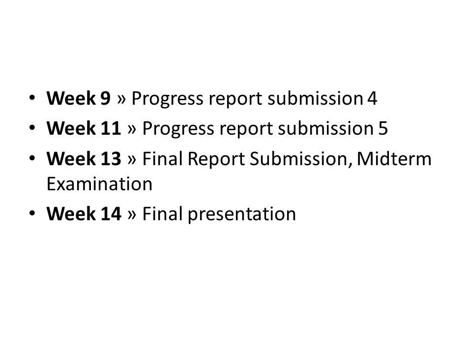 Week 9 » Progress report submission 4 Week 11 » Progress report submission 5 Week 13 » Final Report Submission, Midterm Examination Week 14 » Final pr