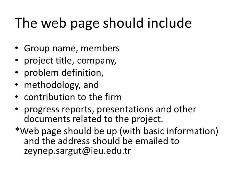 The web page should include Group name, members project title, company, problem definition, methodology, and contribution to the firm progress reports