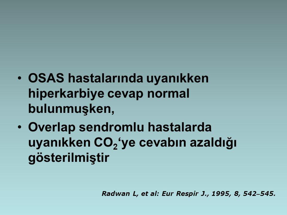 OSAS hastalarında uyanıkken hiperkarbiye cevap normal bulunmuşken, Overlap sendromlu hastalarda uyanıkken CO 2 'ye cevabın azaldığı gösterilmiştir Rad