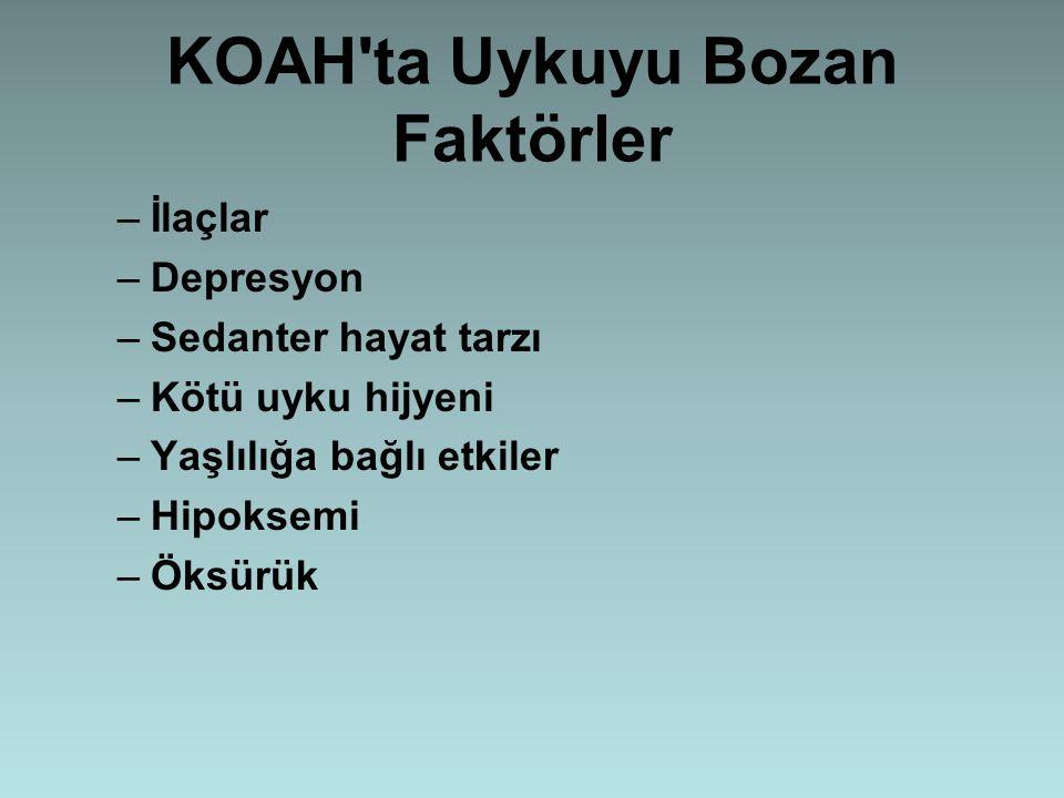 KOAH'ta Uykuyu Bozan Faktörler –İlaçlar –Depresyon –Sedanter hayat tarzı –Kötü uyku hijyeni –Yaşlılığa bağlı etkiler –Hipoksemi –Öksürük