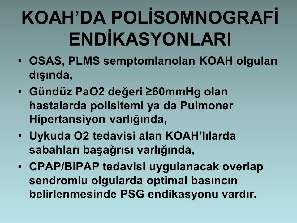 KOAH'DA POLİSOMNOGRAFİ ENDİKASYONLARI OSAS, PLMS semptomlarıolan KOAH olguları dışında, Gündüz PaO2 değeri ≥60mmHg olan hastalarda polisitemi ya da Pu