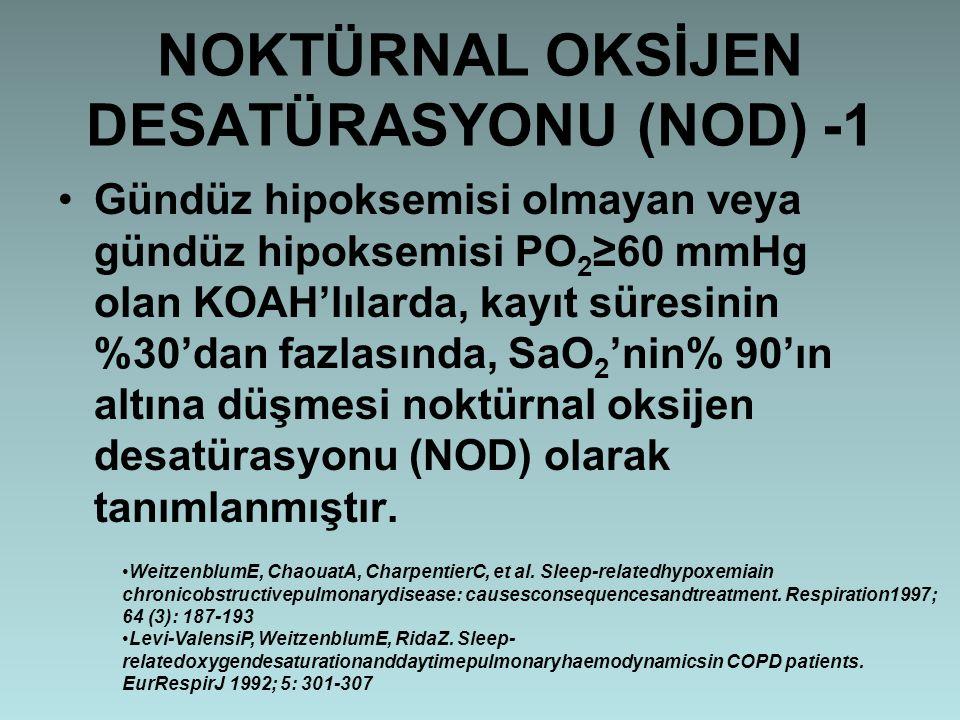 NOKTÜRNAL OKSİJEN DESATÜRASYONU (NOD) -1 Gündüz hipoksemisi olmayan veya gündüz hipoksemisi PO 2 ≥60 mmHg olan KOAH'lılarda, kayıt süresinin %30'dan f