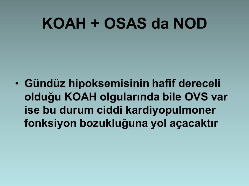 KOAH + OSAS da NOD Gündüz hipoksemisinin hafif dereceli olduğu KOAH olgularında bile OVS var ise bu durum ciddi kardiyopulmoner fonksiyon bozukluğuna