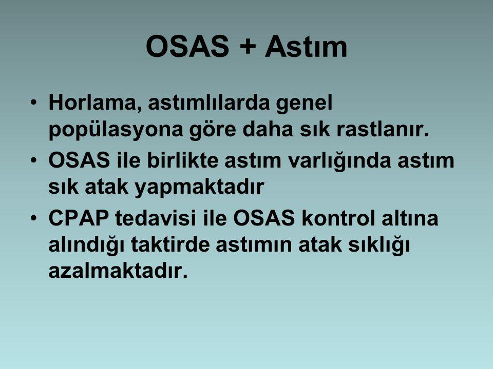 OSAS + Astım Horlama, astımlılarda genel popülasyona göre daha sık rastlanır. OSAS ile birlikte astım varlığında astım sık atak yapmaktadır CPAP tedav