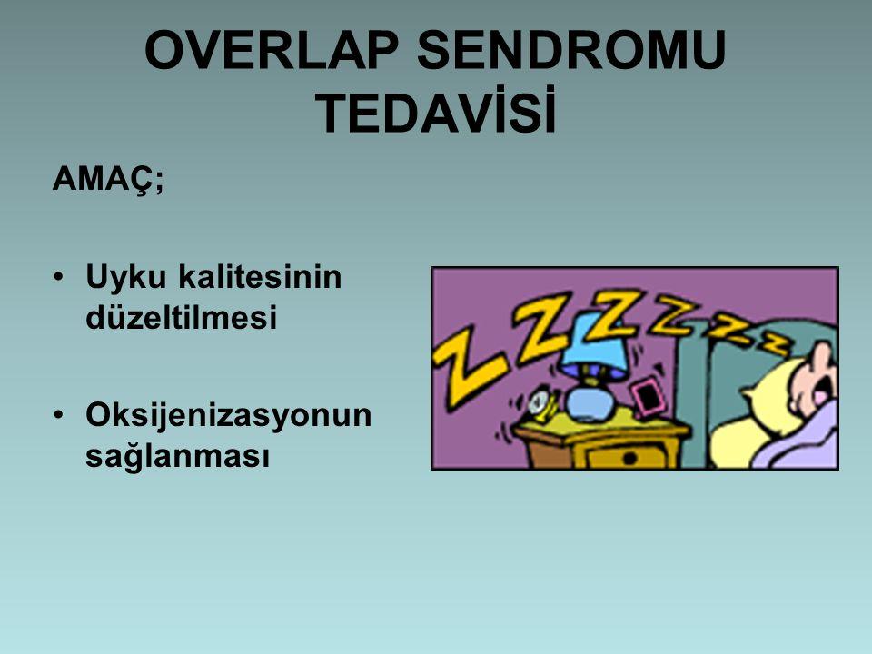 OVERLAP SENDROMU TEDAVİSİ AMAÇ; Uyku kalitesinin düzeltilmesi Oksijenizasyonun sağlanması