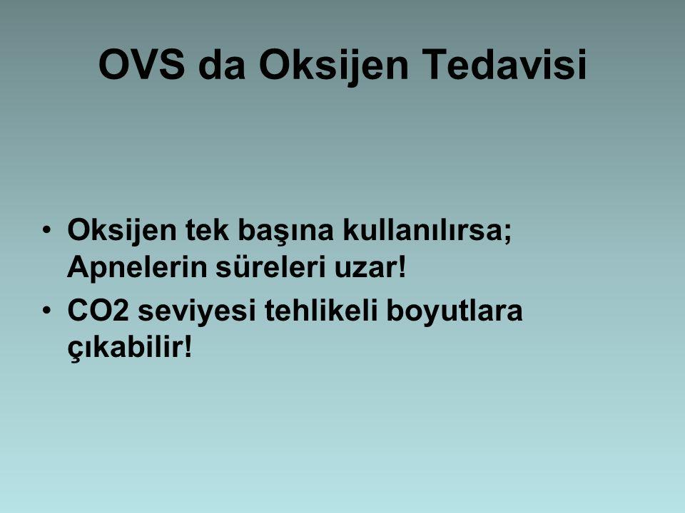 OVS da Oksijen Tedavisi Oksijen tek başına kullanılırsa; Apnelerin süreleri uzar! CO2 seviyesi tehlikeli boyutlara çıkabilir!