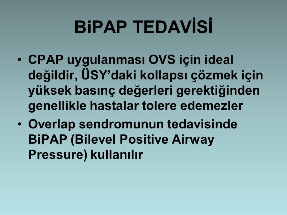 BiPAP TEDAVİSİ CPAP uygulanması OVS için ideal değildir, ÜSY'daki kollapsı çözmek için yüksek basınç değerleri gerektiğinden genellikle hastalar toler