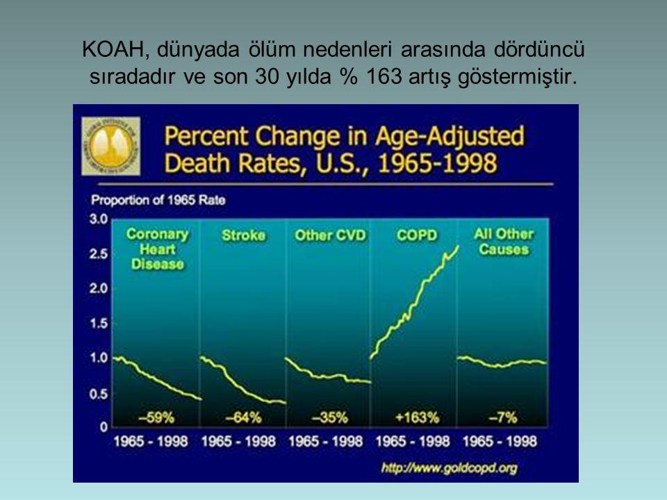 KOAH, dünyada ölüm nedenleri arasında dördüncü sıradadır ve son 30 yılda % 163 artış göstermiştir.