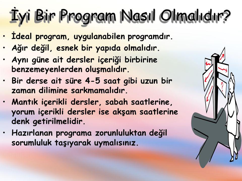 İyi Bir Program Nasıl Olmalıdır.İdeal program, uygulanabilen programdır.